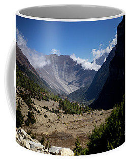 Trees And Snowcapped Peak At Background In The Himalaya Mountains, Nepal Coffee Mug
