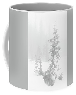 Coffee Mug featuring the photograph Trees In Fog Monochrome by Tim Newton