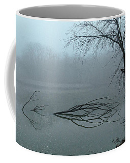 Trees In The Fog On The River Coffee Mug