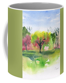Coffee Mug featuring the painting Trees In The Spring At The Commons by Frank Bright
