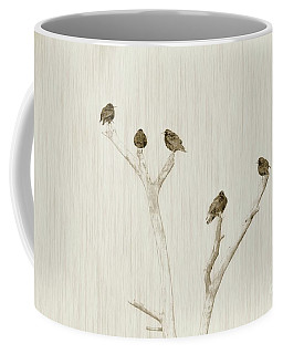 Coffee Mug featuring the photograph Treetop Starlings by Benanne Stiens