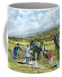Coffee Mug featuring the painting Treshing Rice by Melly Terpening