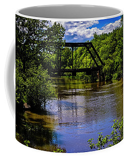 Coffee Mug featuring the photograph Trestle Over River by Mark Myhaver