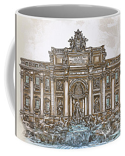 Coffee Mug featuring the painting  Trevi Fountain,rome  by Andrzej Szczerski