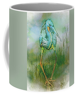 Tri-colored Heron Balancing Act - Colorized Coffee Mug