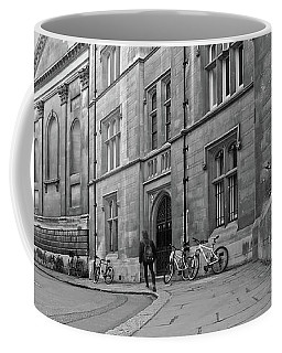 Coffee Mug featuring the photograph Trinity Lane Clare College Great Hall In Black And White by Gill Billington