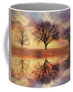 Coffee Mug featuring the mixed media Trio Of Trees by Lori Deiter