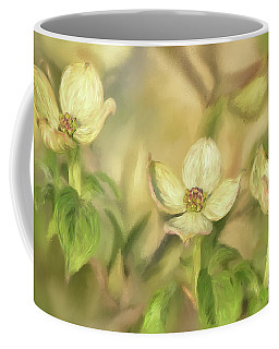 Coffee Mug featuring the digital art Triple Dogwood Blossoms In Evening Light by Lois Bryan