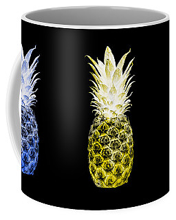 Triptych 14u Artistic Pineapple Blue Yellow Green Coffee Mug