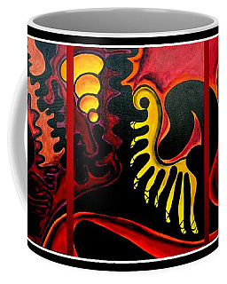 Coffee Mug featuring the painting Triptych Abstract Vision by Jolanta Anna Karolska