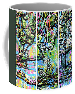 Coffee Mug featuring the painting Triptych Of Three Trees By A Brook by Genevieve Esson