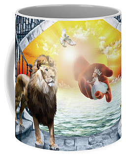 Coffee Mug featuring the digital art Triune Protection by Dolores Develde