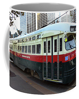 Coffee Mug featuring the photograph Trolley Number 1077 by Steven Spak
