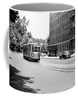 Coffee Mug featuring the photograph Trolley With Packard Building  by Cole Thompson