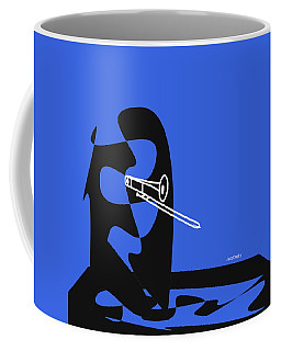Coffee Mug featuring the digital art Trombone In Blue by Jazz DaBri