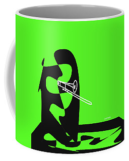 Coffee Mug featuring the digital art Trombone In Green by Jazz DaBri