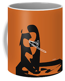 Coffee Mug featuring the digital art Trombone In Orange by Jazz DaBri