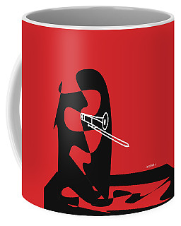 Coffee Mug featuring the digital art Trombone In Red by Jazz DaBri