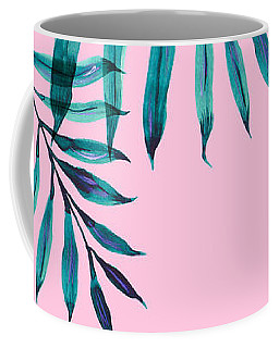 Tropical Greenery On Pink Coffee Mug