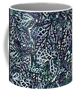 Coffee Mug featuring the painting Tropical Jungle Leaves Mosaic Pattern by Menega Sabidussi