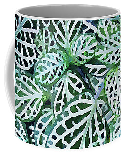 Coffee Mug featuring the photograph Tropical Nerve Mosaic Plant Fittonia Leaves by Menega Sabidussi