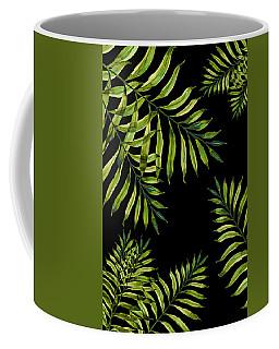 Tropical Night - Greenery On Black Coffee Mug