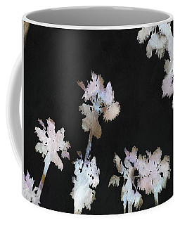 Coffee Mug featuring the painting Tropical Palms On Black Background by Tracey Harrington-Simpson