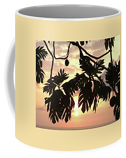 Coffee Mug featuring the photograph Tropical Sunset Silhouette by Karen Nicholson