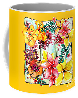 Coffee Mug featuring the photograph Tropicana On Yellow By Kaye Menner by Kaye Menner