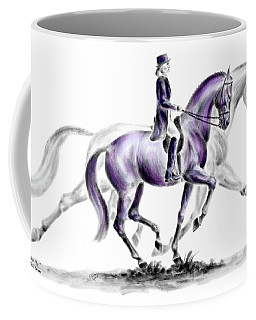 Trot On - Dressage Horse Print Color Tinted Coffee Mug