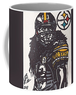 Coffee Mug featuring the drawing Troy Polomalu 1 by Jeremiah Colley