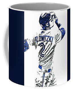 Coffee Mug featuring the mixed media Troy Tulowitzki Toronto Blue Jays Pixel Art 2 by Joe Hamilton