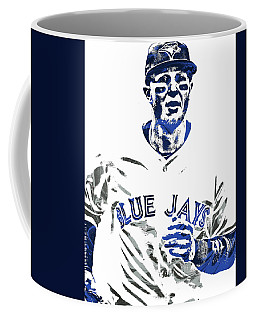 Coffee Mug featuring the mixed media Troy Tulowitzki Toronto Blue Jays Pixel Art by Joe Hamilton