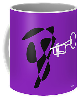 Coffee Mug featuring the digital art Trumpet In Purple by Jazz DaBri