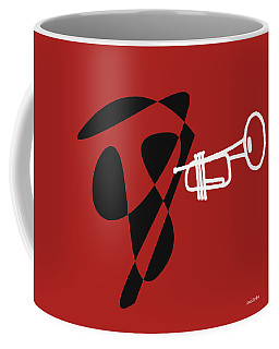 Coffee Mug featuring the digital art Trumpet In Orange Red by Jazz DaBri