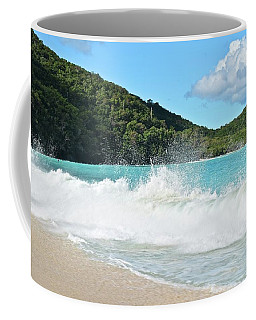 Coffee Mug featuring the photograph Trunk Bay Waves Crash Hard by Frozen in Time Fine Art Photography