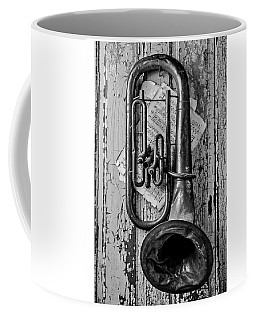 Tuba And Music On Door In Black And White Coffee Mug