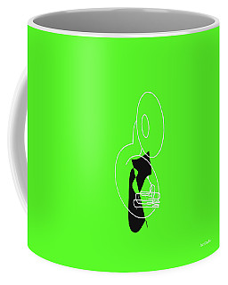 Coffee Mug featuring the digital art Tuba In Green by Jazz DaBri