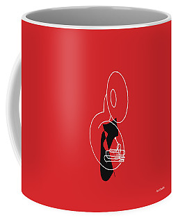 Coffee Mug featuring the digital art Tuba In Red by Jazz DaBri