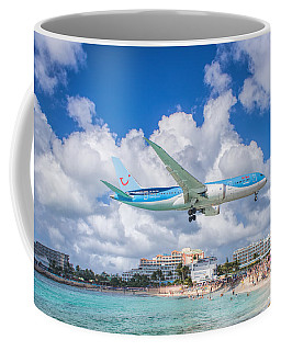 Tui Airlines Netherlands Landing At St. Maarten Airport Coffee Mug
