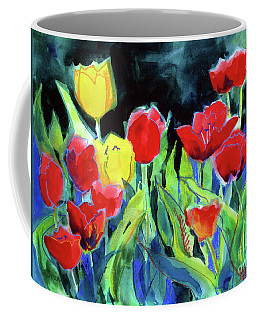 Coffee Mug featuring the painting Tulip Bed At Dark by Kathy Braud