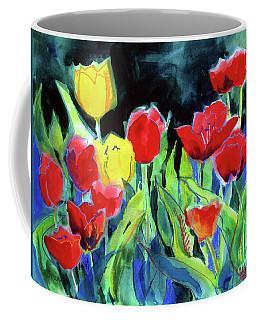 Tulip Bed At Dark Coffee Mug by Kathy Braud