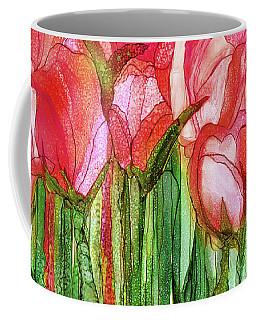 Coffee Mug featuring the mixed media Tulip Bloomies 4 - Red by Carol Cavalaris