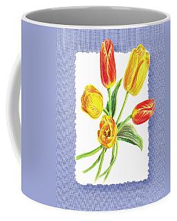 Tulip Bouquet On Baby Blue Coffee Mug