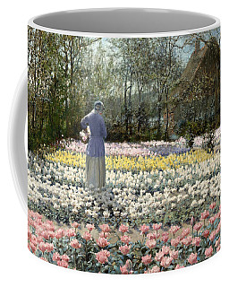Coffee Mug featuring the painting Tulip Culture by George Hitchcock