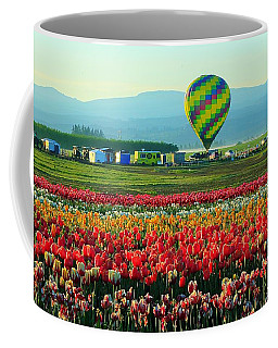 Tulip Field And Hot Air Balloon Coffee Mug