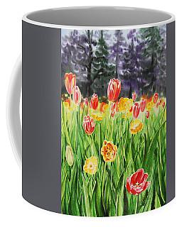 Coffee Mug featuring the painting Tulip Garden In San Francisco by Irina Sztukowski