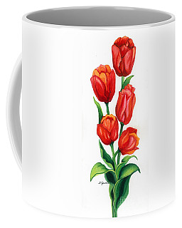 Coffee Mug featuring the painting Tulip Time by Barbara Jewell