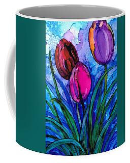Coffee Mug featuring the painting Tulip Trio by Val Stokes