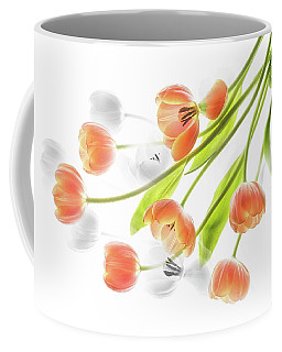 A Creative Presentation Of A Bouquet Of Tulips. Coffee Mug